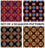 Set of 4 modern seamless patterns with red, green, yellow, violet, orange, yellow, blue, black, brown and beige shades. Set of 4 abstract modern seamless Stock Images