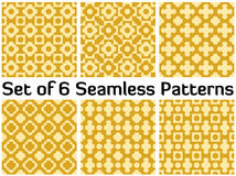 Set of 6 modern seamless patterns with various geometric shapes Stock Images