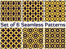 Set of 6 modern seamless patterns with various geometric shapes. Set of 6 abstract modern seamless patterns with various geometric shapes of yellow and blue Stock Photography