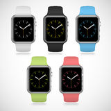Set of 5 modern shiny sport smart watches with Stock Image