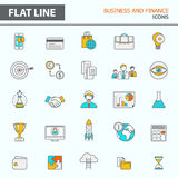 Set of modern simple line icons. In flat design. Trendy infographic business and finance concept elements for banners, layouts, corporate  brochures, templates Stock Photos