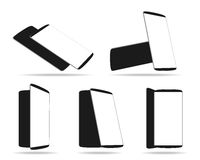 Set modern smartphones different angles views isolated on white Royalty Free Stock Photos