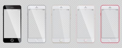 Set of modern smartphones with a transparent screen. royalty free illustration
