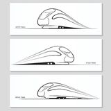 Set of modern speed train silhouettes and contours Stock Photos