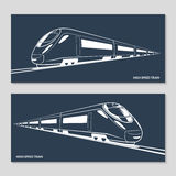 Set of modern speed train silhouettes, outlines, contours. Vector illustration Stock Images
