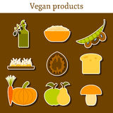 Set of modern stickers in flat style on vegan food Royalty Free Stock Photo
