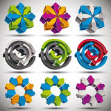 Set of modern style 3d abstract icons. Set of modern style 3d abstract icons with arrows and gears, vector Stock Photos