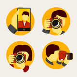 Set of modern style photographer icons. Vector Royalty Free Stock Image