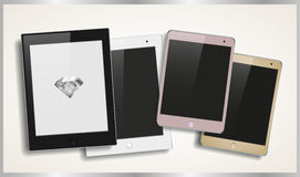 Set of modern stylish tablets in different colors Stock Image