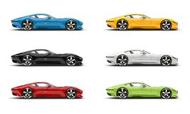 Set of modern super sports cars in various colors. Isolated on white background Royalty Free Stock Photos