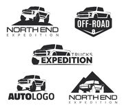 Set of modern suv pickup emblems, icons and logos. Offroad  pick Royalty Free Stock Image