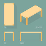 Set of modern table isometric drawing Royalty Free Stock Image