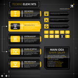 Set of modern techno banners and elements. Royalty Free Stock Images