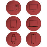 Set of modern technology outline icons Stock Image