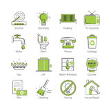 A set of modern thin line with green coloring public utility, housing facilities, communal housing services vector icons. A set of modern thin line with green stock illustration