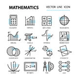 Set of modern thin line icons for math. Royalty Free Stock Photography
