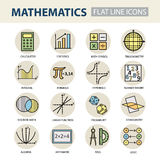 Set of modern thin line icons for math. Royalty Free Stock Photos