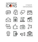 Set of modern thin line soial icons Royalty Free Stock Photos