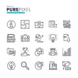 Set of modern thin line pixel perfect basic business icons Royalty Free Stock Photos