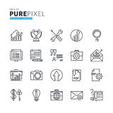 Set of modern thin line pixel perfect business concept icons Stock Photography