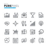 Set of modern thin line pixel perfect icons of business and marketing Stock Image