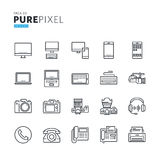 Set of modern thin line pixel perfect icons of electronic devices Stock Photo