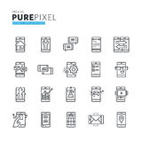 Set of modern thin line pixel perfect icons of mobile apps and services Stock Photography