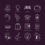 A set of modern thin line white public utility, housing facilities, communal housing services vector icons. A set of modern thin line white public utility vector illustration