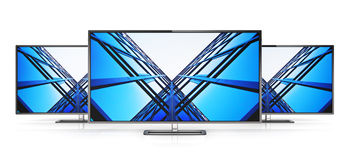 Set of modern TVs. Creative abstract television electronics technology business concept: group of modern TV display screens or computer PC monitors isolated on Royalty Free Stock Photos