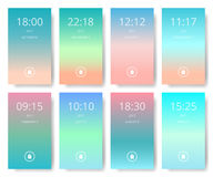 Set of modern user interface, ux, ui screen wallpapers for mobile smart phone. Stock Images