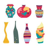 Set of Modern Vases. Set of cute vases with different shapes, in contemporary style Stock Images