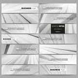 Set of modern vector banners. Abstract lines background, simple monochrome texture Royalty Free Stock Photos