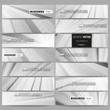 Set of modern vector banners. Abstract lines background, simple monochrome texture Stock Images
