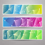 Set of Modern Vector Banners with Colorful Abstract Background. Set of Modern Styled Colorful Horizontal Headers or Banners with Abstract Network Designs for Royalty Free Stock Image