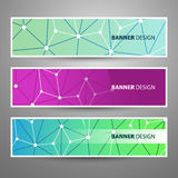 Set of Modern Vector Banners with Colorful Abstract Background. Set of Modern Styled Colorful Horizontal Headers or Banners with Abstract Network Mesh Design for Royalty Free Stock Images