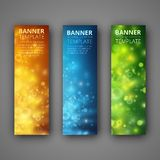 A set of modern vector banners. With colorfull bokeh Stock Photography