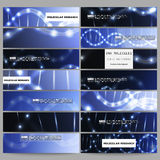 Set of modern vector banners. DNA molecule structure on dark blue background. Royalty Free Stock Image