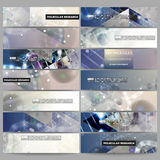 Set of modern vector banners. DNA molecule structure on dark blue background. Stock Images
