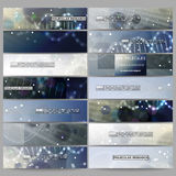 Set of modern vector banners. DNA molecule structure on dark blue background. Royalty Free Stock Images