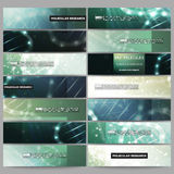 Set of modern vector banners. DNA molecule structure on dark green background. Stock Image