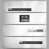Set of modern vector banners. Halftone background. Black dots on white Stock Photos