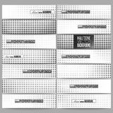 Set of modern vector banners. Halftone background. Black dots on white Royalty Free Stock Photo