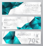 Set of modern vector banners with polygonal background Royalty Free Stock Photos