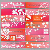 Set of modern vector banners. White paper hearts Stock Image