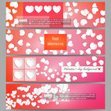 Set of modern vector banners. White paper hearts Royalty Free Stock Image