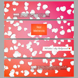Set of modern vector banners. White paper hearts, red background for Valentines day Royalty Free Stock Images
