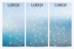 Set of modern vector flyers. Abstract background with molecule structure DNA and neurons. Stock Image
