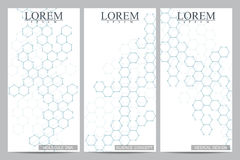 Set of modern vector flyers. Abstract background with molecule structure DNA and neurons. Stock Images