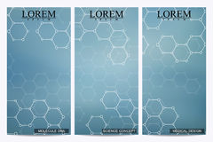 Set of modern vector flyers. Abstract background with molecule structure DNA and neurons. Medicine, science, technology. Banner, card,web, certificate. Vector Stock Images