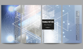Set of modern vector flyers. Abstract blurred background with triangles, lines and dots. Royalty Free Stock Image